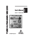 Behringer Tube Ultragain MIC200 DJ Equipment Manual (12 pages)