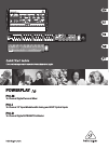 Behringer POWERPLAY 16 P16-D DJ Equipment Manual (20 pages)