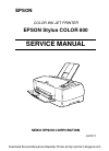 Epson Stylus Color 800 Printer Manual (187 pages)