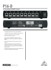 Behringer POWERPLAY 16 P16-D DJ Equipment Manual (4 pages)