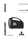 Behringer EPA40 DJ Equipment Manual (8 pages)