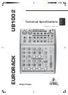 Behringer EURORACK UB1002 DJ Equipment Manual (5 pages)