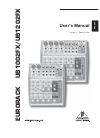 Behringer EURORACK UB1002FX DJ Equipment Manual (12 pages)