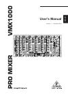 Behringer Pro Mixer VMX1000 DJ Equipment Manual (11 pages)
