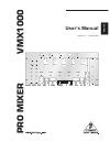 Behringer Pro Mixer VMX1000 DJ Equipment Manual (10 pages)