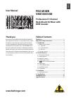 Behringer PRO MIXER VMX1000USB DJ Equipment Manual (7 pages)