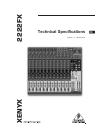 Behringer XENYX 2222FX DJ Equipment Manual (5 pages)