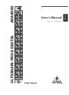 Behringer ULTRAGAIN PRO-8 DIGITAL ADA8000 DJ Equipment Manual (8 pages)