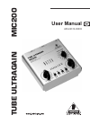 Behringer Tube Ultragain MIC200 DJ Equipment Manual (14 pages)