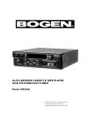 Bogen CR100A Cassette Player Manual (8 pages)