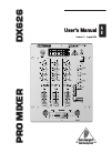 Behringer Pro Mixer DX626 DJ Equipment Manual (8 pages)