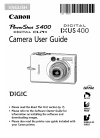 Canon PowerShot S400 Digital Camera Manual (164 pages)