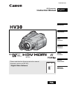 Canon HV30 Digital Camera Manual (104 pages)